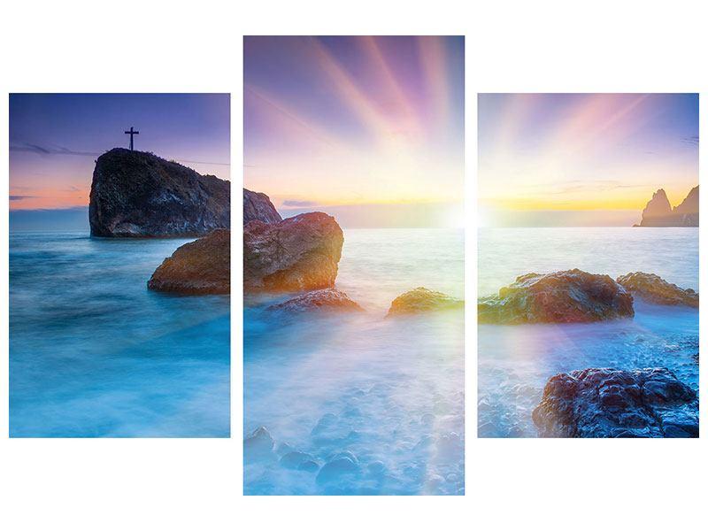 Leinwandbild 3-teilig modern Mystisches Meer