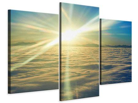 Leinwandbild 3-teilig modern Sonnenaufgang über den Wolken