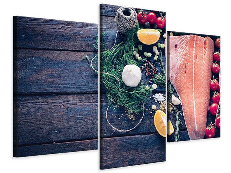 Leinwandbild 3-teilig modern Fangfrischer Fisch