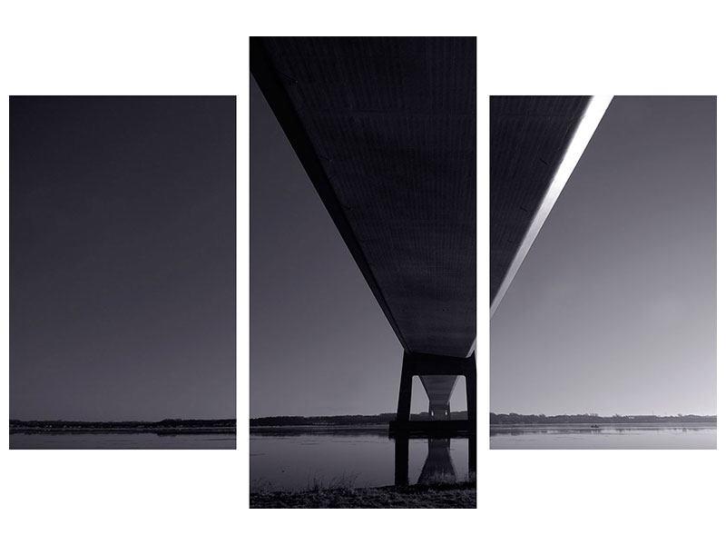 Leinwandbild 3-teilig modern Die Brücke über tiefes Wasser