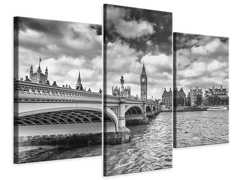 Leinwandbild 3-teilig modern Westminster Bridge