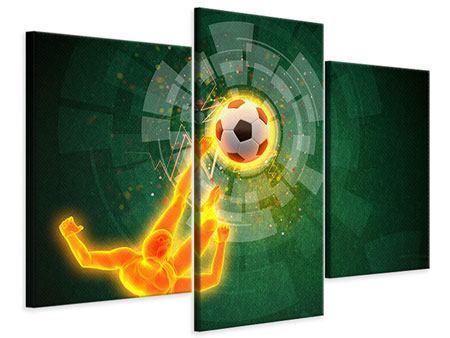 Leinwandbild 3-teilig modern Der Kicker