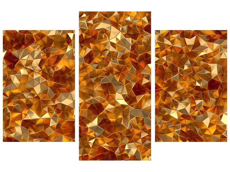 Leinwandbild 3-teilig modern 3D-Bernsteine