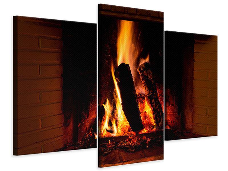 Leinwandbild 3-teilig modern Feuer im Kamin