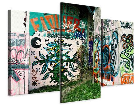 Leinwandbild 3-teilig modern Graffiti im Hinterhof