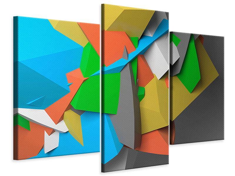 Leinwandbild 3-teilig modern 3D-Geometrische Figuren