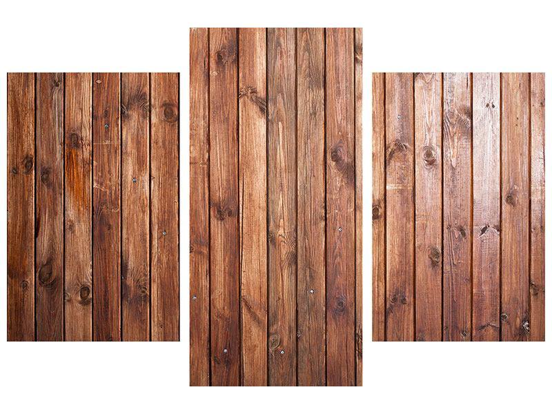 Leinwandbild 3-teilig modern Edelholz