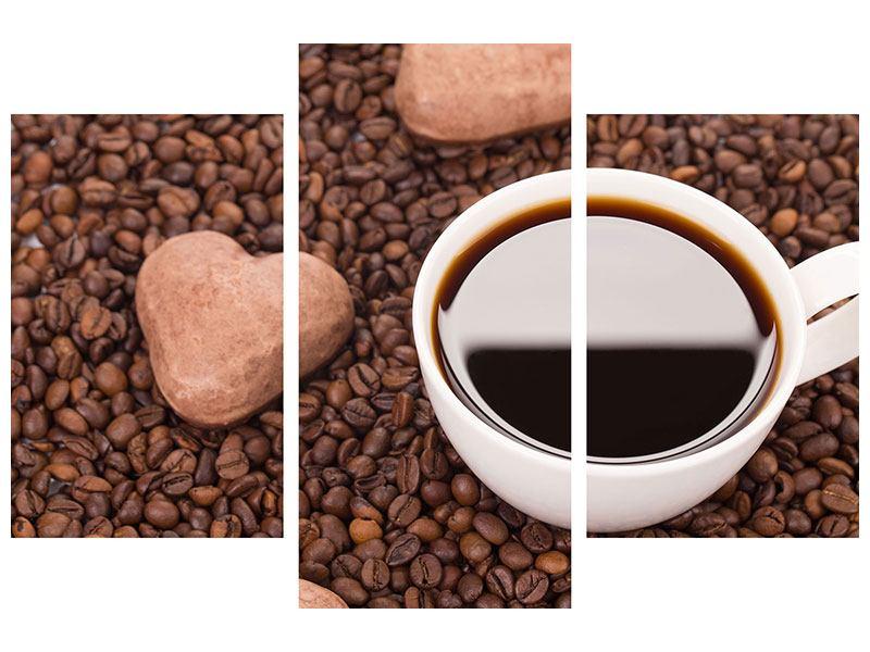 Leinwandbild 3-teilig modern Pausenkaffee