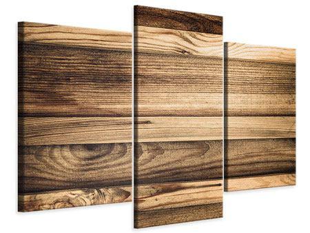 Leinwandbild 3-teilig modern Holztrend