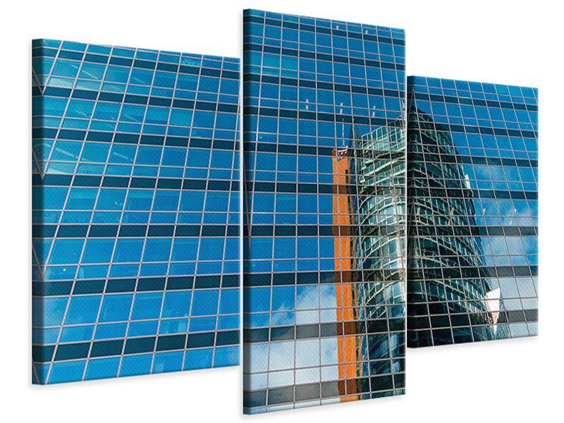 Leinwandbild 3-teilig modern Wolkenkratzer-Spiegel