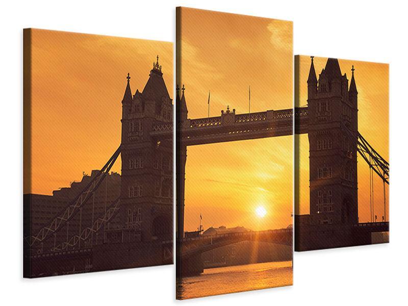 Leinwandbild 3-teilig modern Sonnenuntergang bei der Tower-Bridge