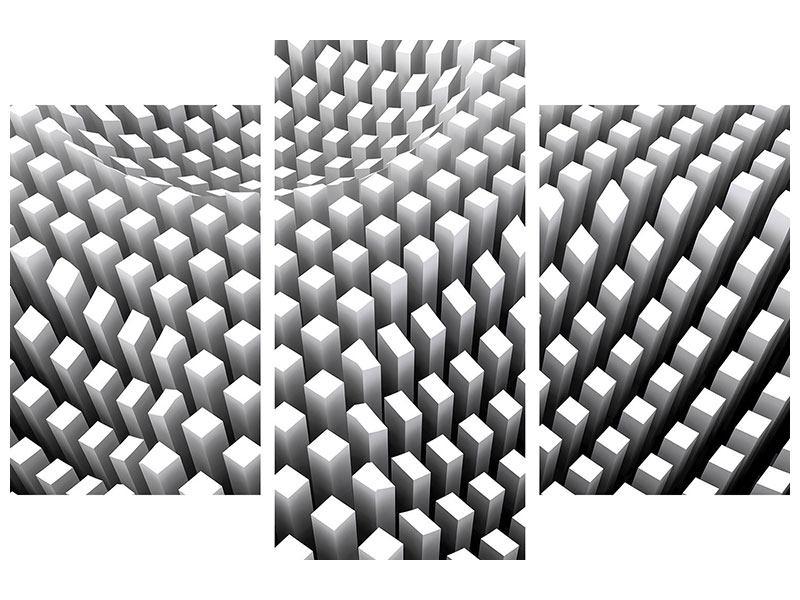 Leinwandbild 3-teilig modern 3D-Rasterdesign