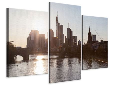Leinwandbild 3-teilig modern Skyline Sonnenaufgang bei Frankfurt am Main