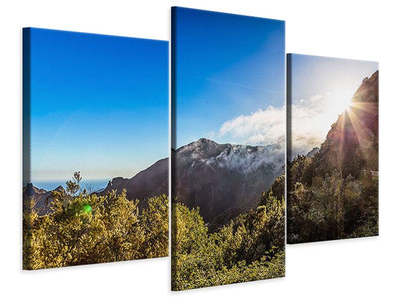 Leinwandbild 3-teilig modern Berge am Meer