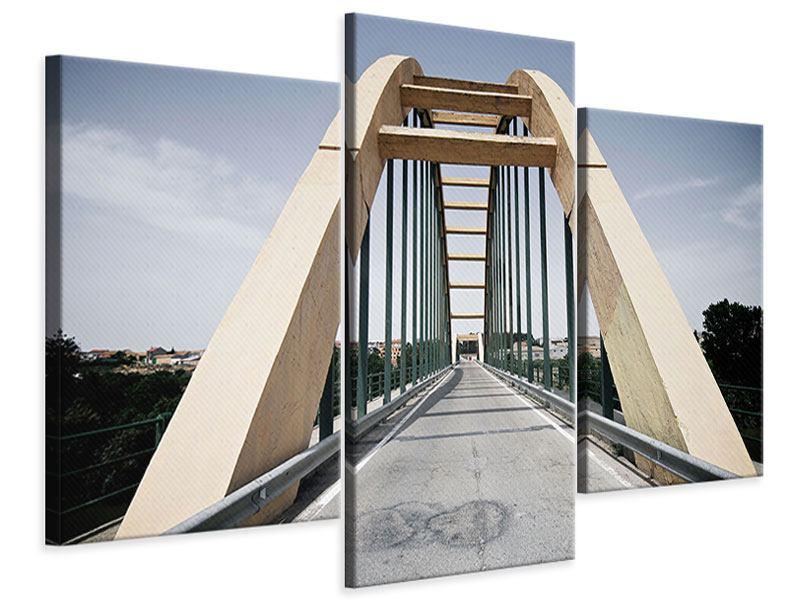 Leinwandbild 3-teilig modern Imposante Hängebrücke