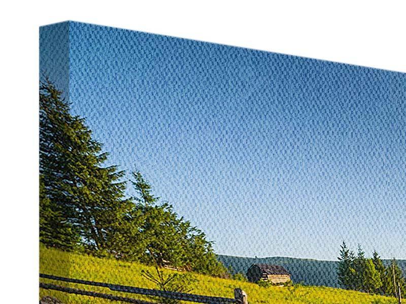 Leinwandbild 3-teilig modern Sonnenaufgang am Berg