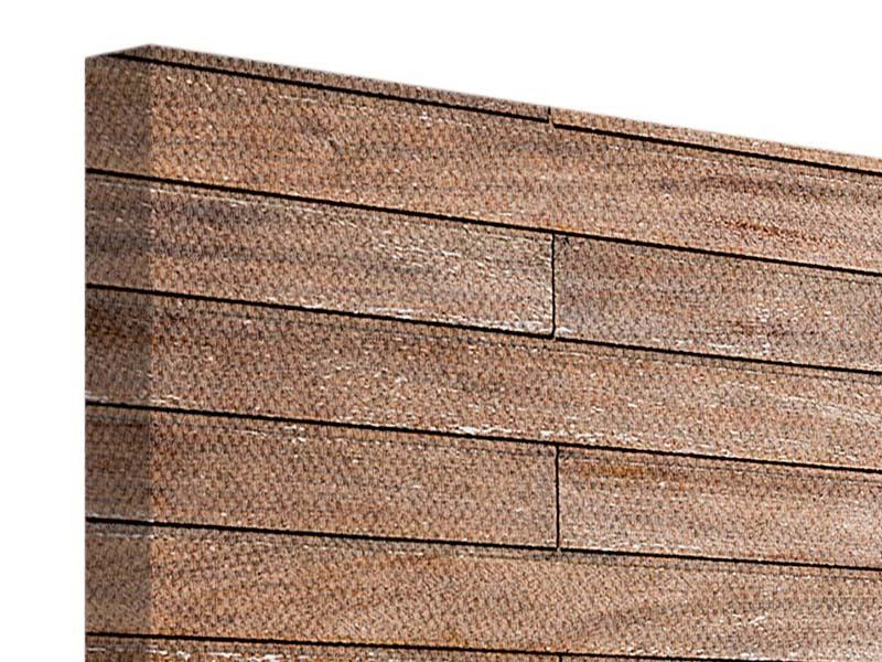Leinwandbild 3-teilig modern Walnuss-Paneele
