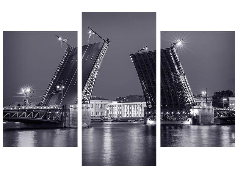 Leinwandbild 3-teilig modern Klappbrücke bei Nacht