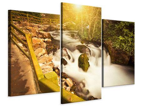 Leinwandbild 3-teilig modern Sonnenuntergang am Wasserfall