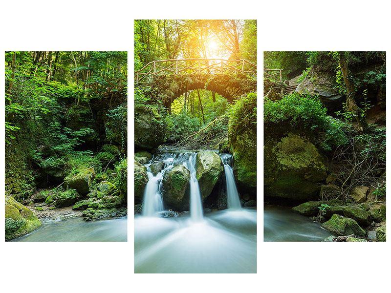 Leinwandbild 3-teilig modern Wasserspiegelungen