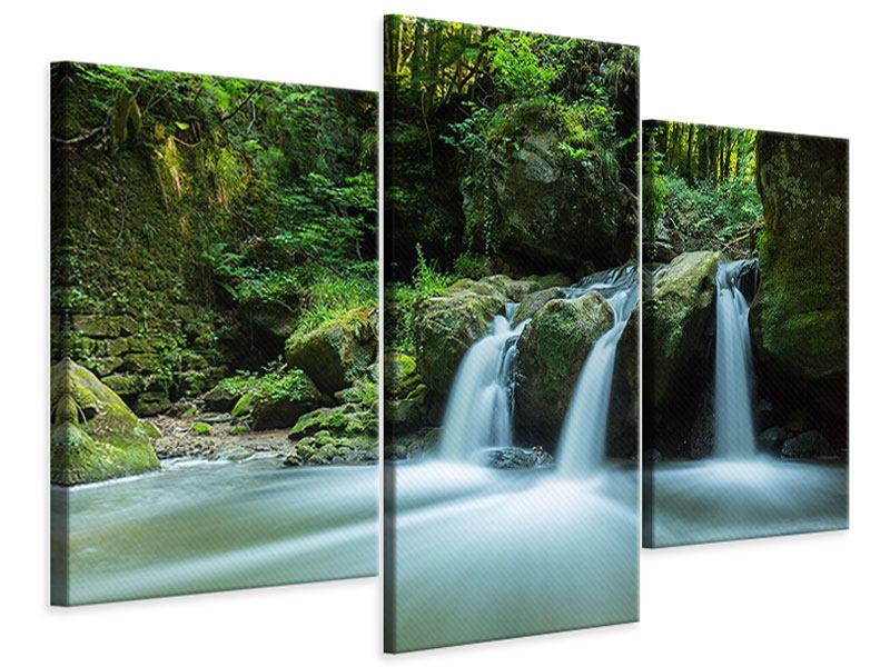Leinwandbild 3-teilig modern Fallendes Wasser