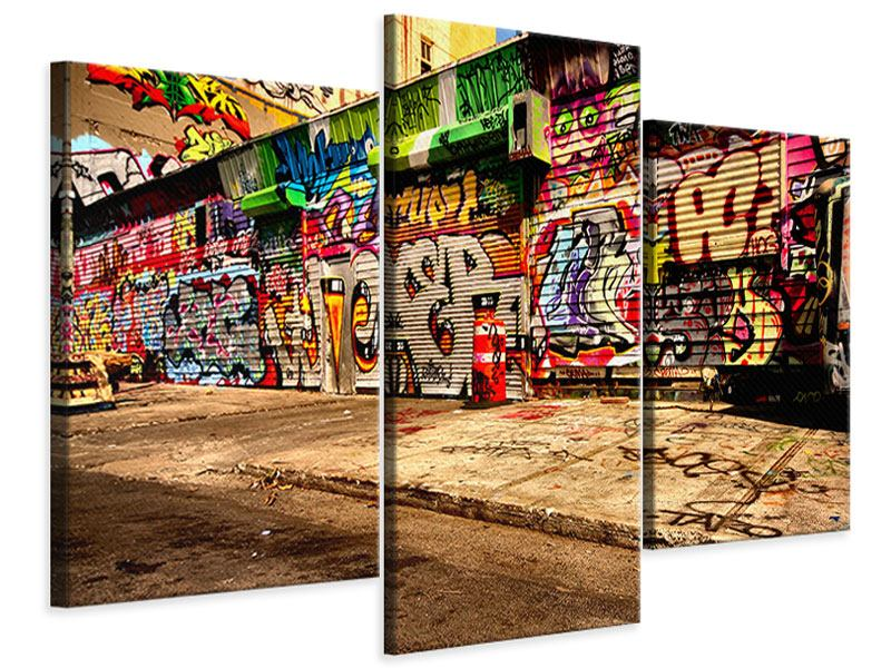 Leinwandbild 3-teilig modern NY Graffiti
