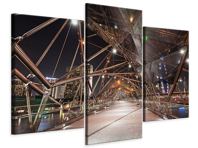 Leinwandbild 3-teilig modern Brückenlichter