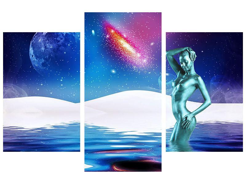 Leinwandbild 3-teilig modern Mondgöttin