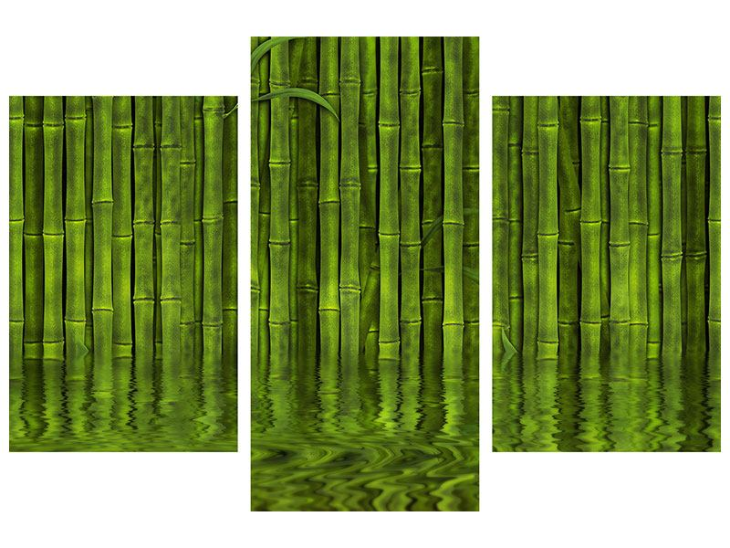 Leinwandbild 3-teilig modern Wasserspiegelung Bambus