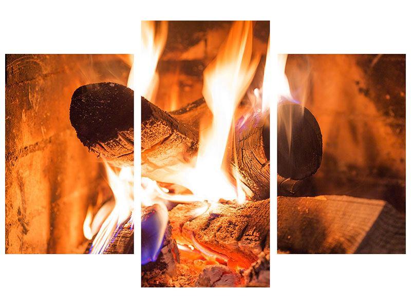 Leinwandbild 3-teilig modern Kaminfeuer