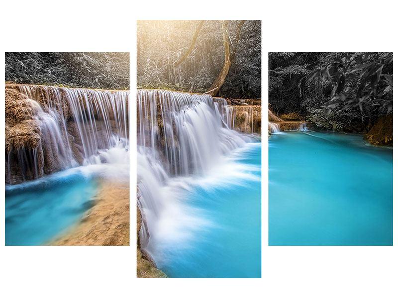 Leinwandbild 3-teilig modern Glücklicher Wasserfall