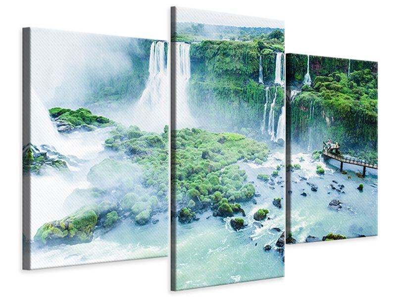 Leinwandbild 3-teilig modern Wasserfälle