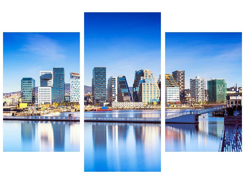 Leinwandbild 3-teilig modern Skyline Oslo