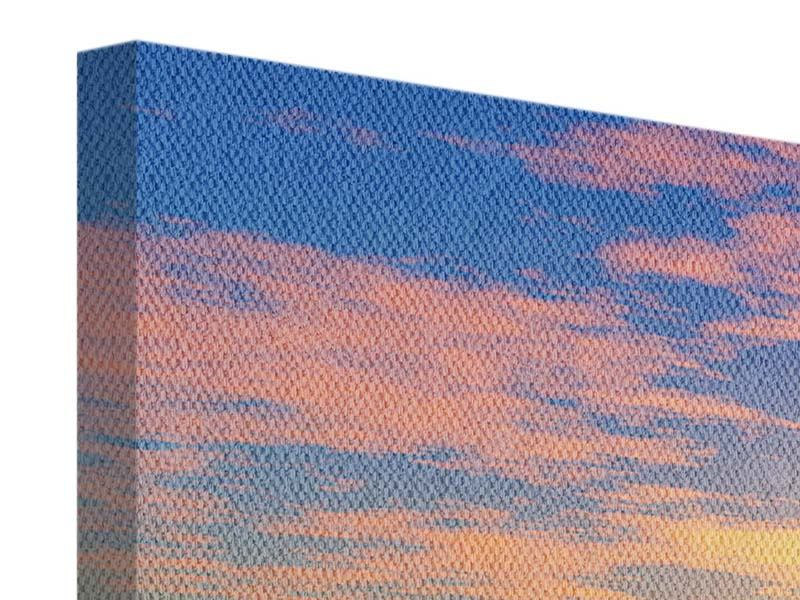 Leinwandbild 3-teilig modern Blumenpanorama bei Sonnenuntergang