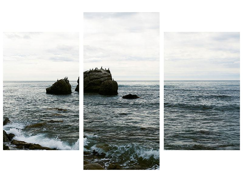 Leinwandbild 3-teilig modern Leise Wellen