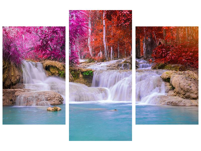 Leinwandbild 3-teilig modern Paradiesischer Wasserfall