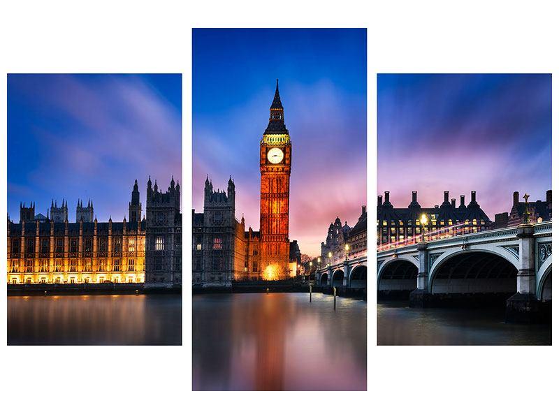 Leinwandbild 3-teilig modern Nachts am Big Ben