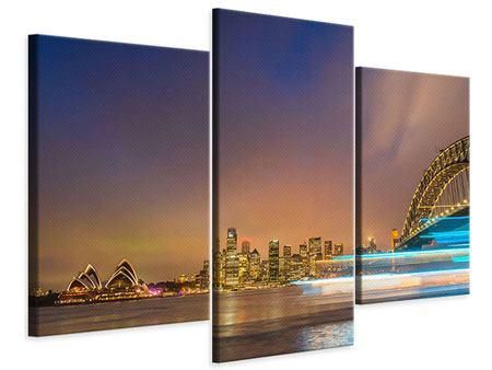 Leinwandbild 3-teilig modern Skyline Opera House in Sydney im Abendlicht