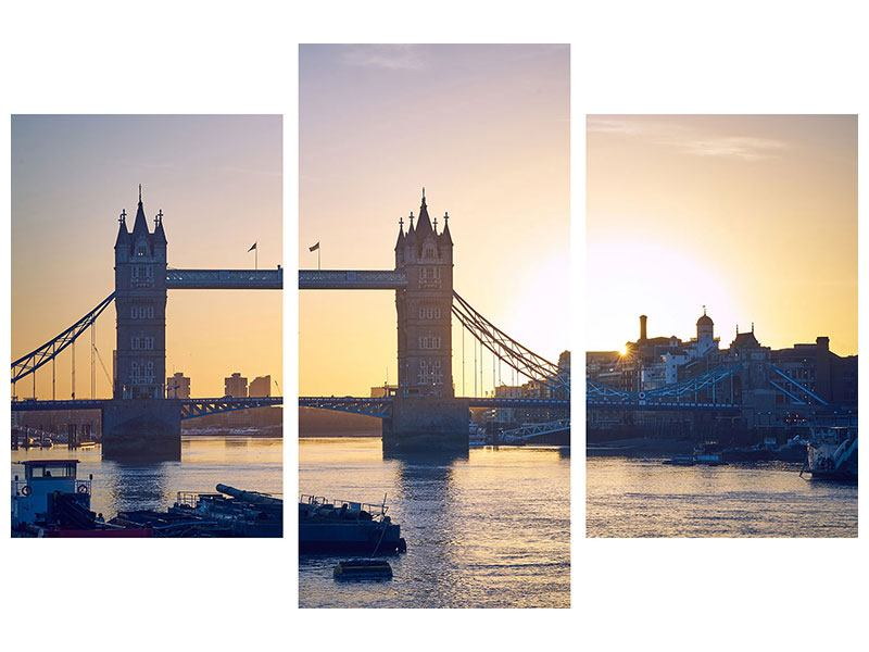 Leinwandbild 3-teilig modern Tower Bridge bei Sonnenuntergang
