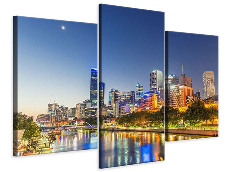 Leinwandbild 3-teilig modern Skyline Sydney in der Abenddämmerung