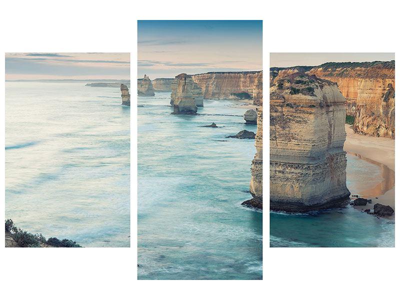 Leinwandbild 3-teilig modern Felsklippen