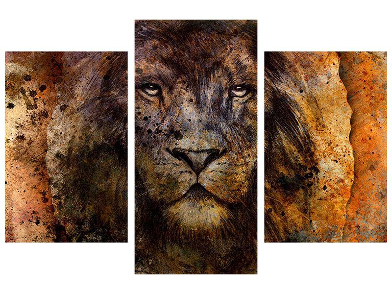 Leinwandbild 3-teilig modern Portrait eines Löwen