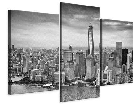 Leinwandbild 3-teilig modern Skyline Schwarzweissfotografie New York