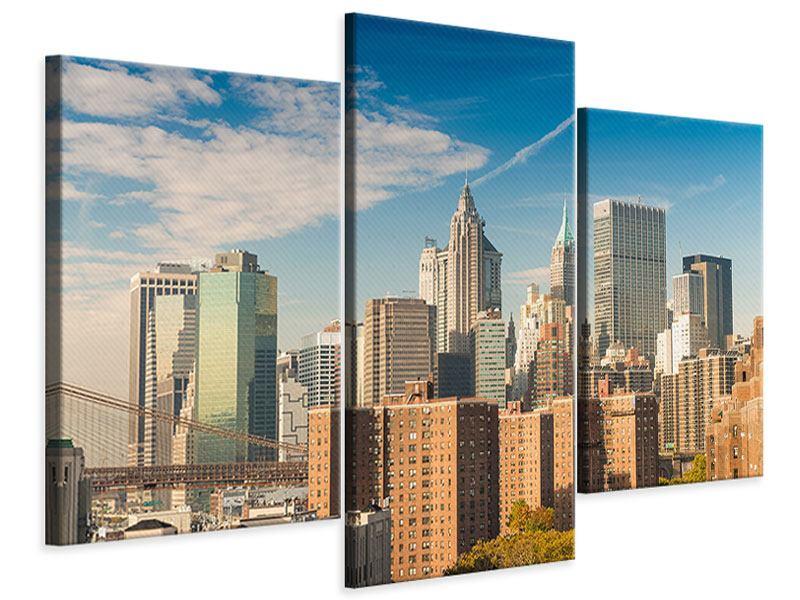 Leinwandbild 3-teilig modern Skyline New York