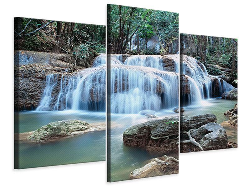Leinwandbild 3-teilig modern Ein Wasserfall