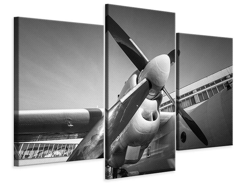 Leinwandbild 3-teilig modern Nostalgisches Flugzeug