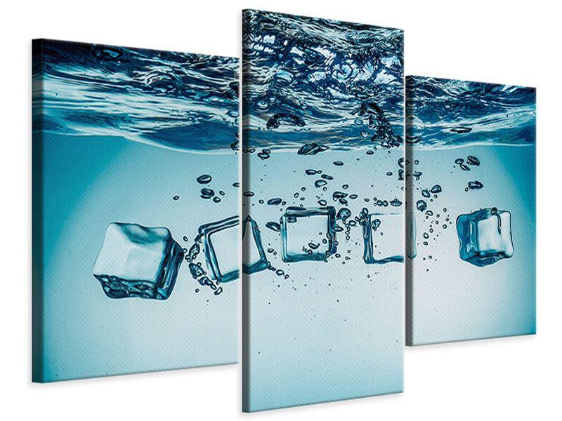 Leinwandbild 3-teilig modern Eiswürfel-Quadro