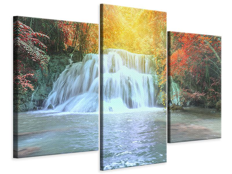 Leinwandbild 3-teilig modern Wasserfall im Licht