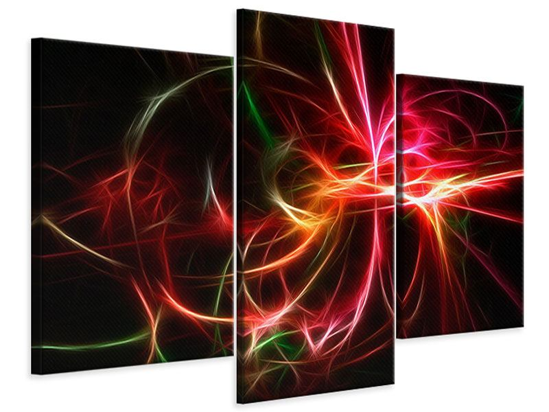 Leinwandbild 3-teilig modern Fraktales Lichtspektakel