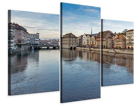 Leinwandbild 3-teilig modern Kosmopolitisches Zürich